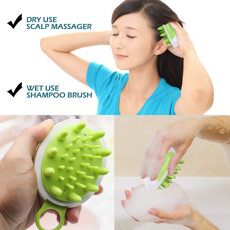 Hair Scalp Massager Shampoo Brush, Silicone Cushioned Scalp Scrubber for Dandruff Cleaning, Travel Household Hair Care Detangler Siliscrub for Men/Women/Kids/Pets/Thick Hair/Beard
