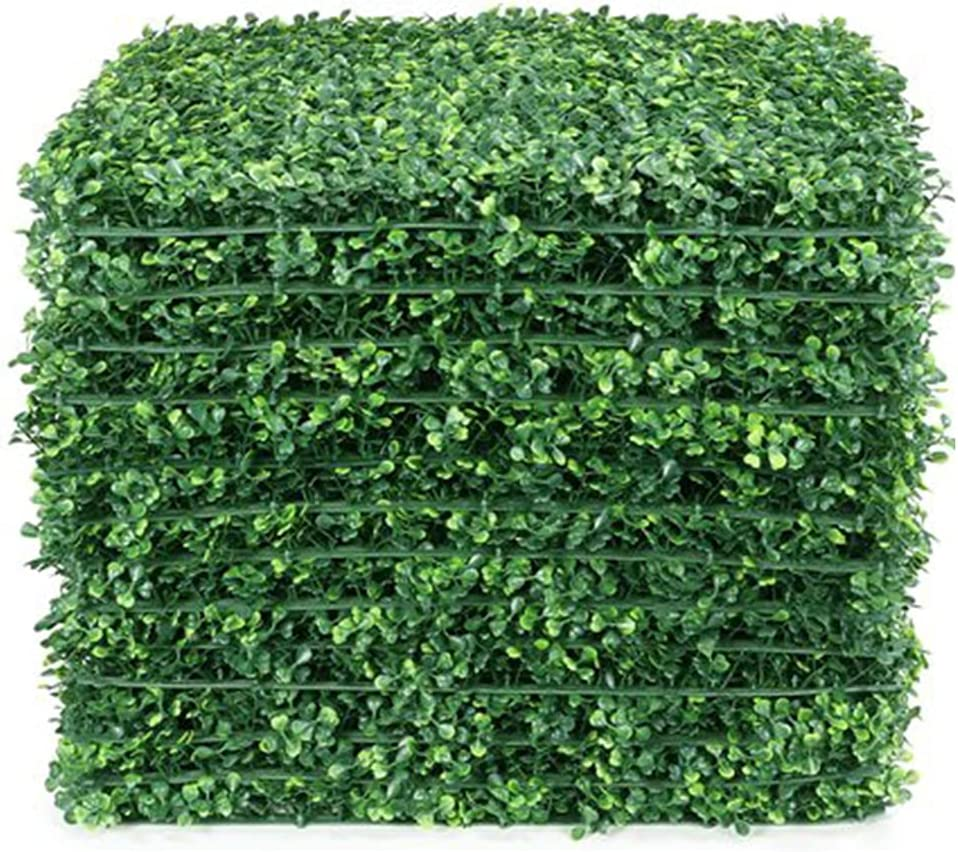 Lackingone 12PCS 20x20 inch Artificial Grass Wall Backdrop, Fake Green Plant Wall Decor, Faux Boxwood Hedge Privacy Screen, Greenery Living Wall Panels UV Protected for Indoor Outdoor Garden Fence