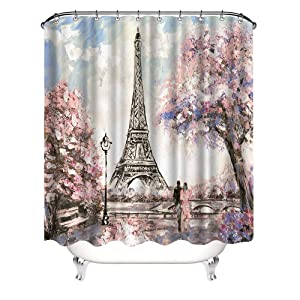 VividHome 72 x 72 Inch Waterproof Paris Eiffel Tower Bathroom Shower Curtain Romantic Lover Pink Flower Polyester Fabric Bathroom Curtain Ideas (Pink)