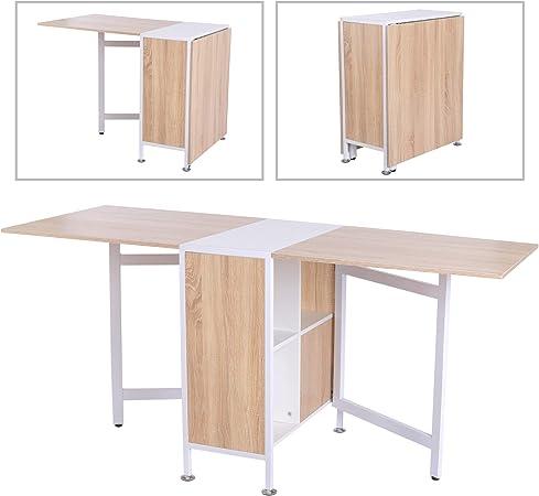 Homcom Table Pliante Pliable Pour Salle A Manger Ou Cuisine Avec 2