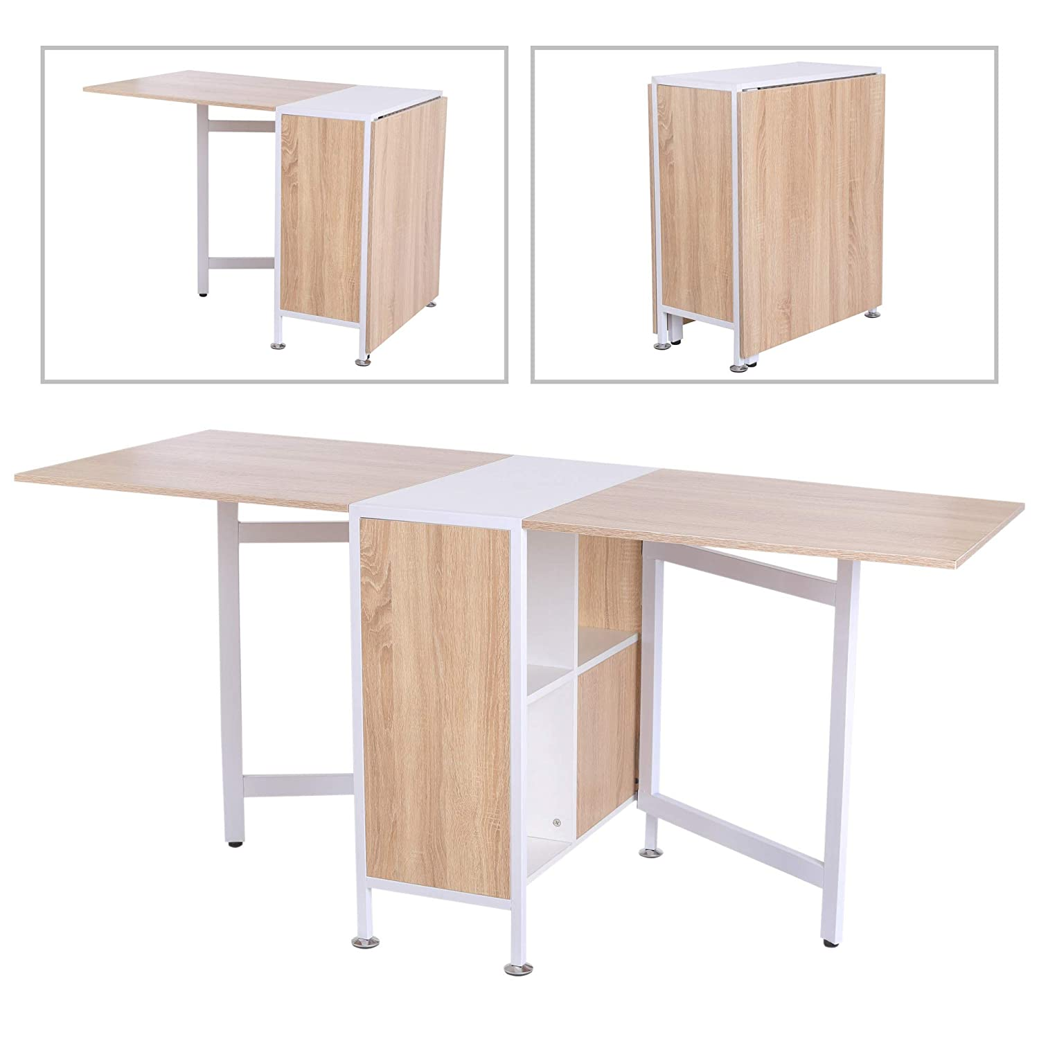 HOMCOM Foldable Drop Leaf Dining Kitchen Table Folding Computer Desk Workstation for Small Space with 2 Storage Shelves Cubes Oak & White Sold by MHSTAR