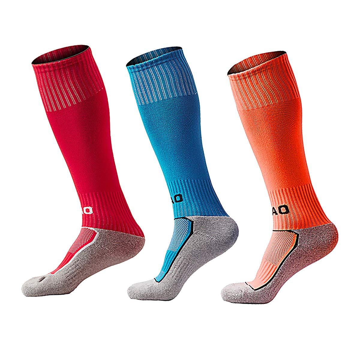 Kids Soccer Socks Knee High Tube Socks Towel Bottom Pressure Football Socks 3 Pack/1 Pack(7-13 Years Little Kid/Big Kid)