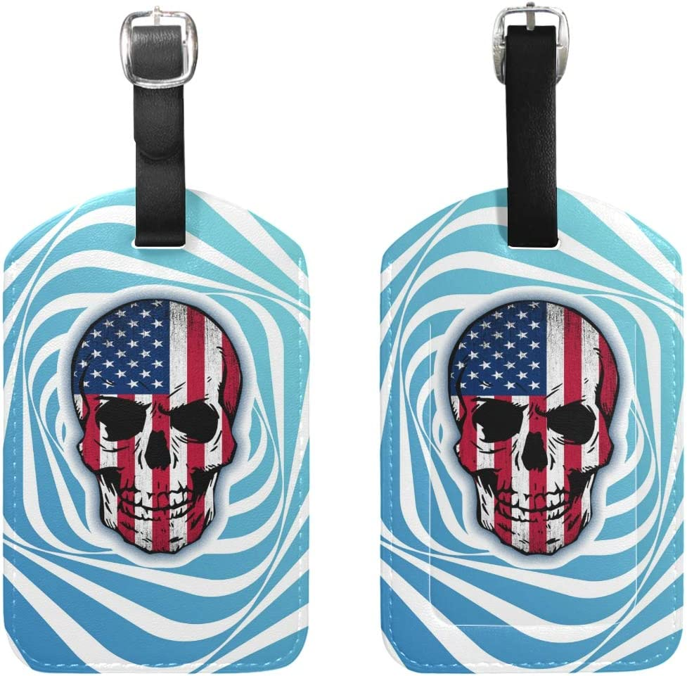 Set of 1 Travel Vintage Skull Usa Flag Leather Luggage Tags with Black Strap