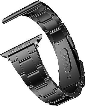 JETech Banda Correa Reemplazable Compatible con Apple Watch 44 mm y 42 mm, Acero Inoxidable, Negro: Amazon.es: Electrónica