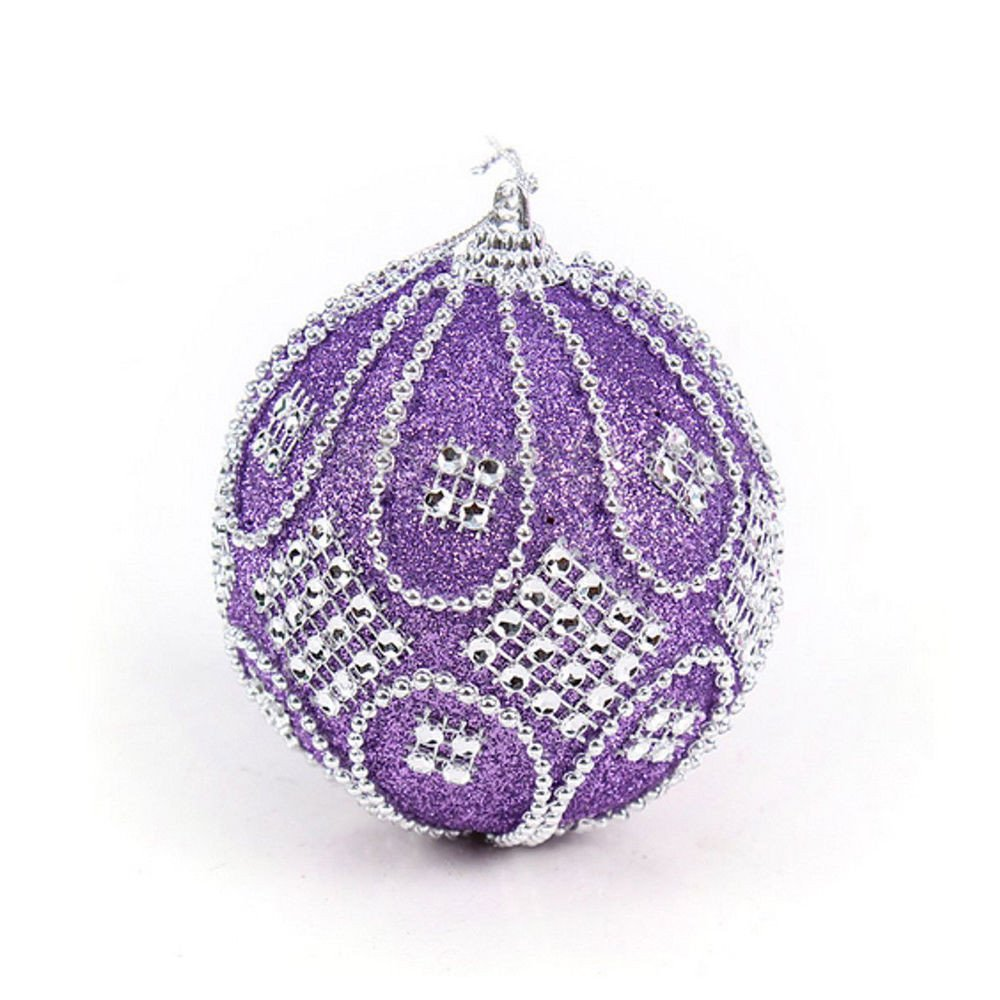 3.1 inch Christmas Tree Ball Decoration Shatterproof Multicolor-Choice Hanging Ornaments (Purple, 80mm)