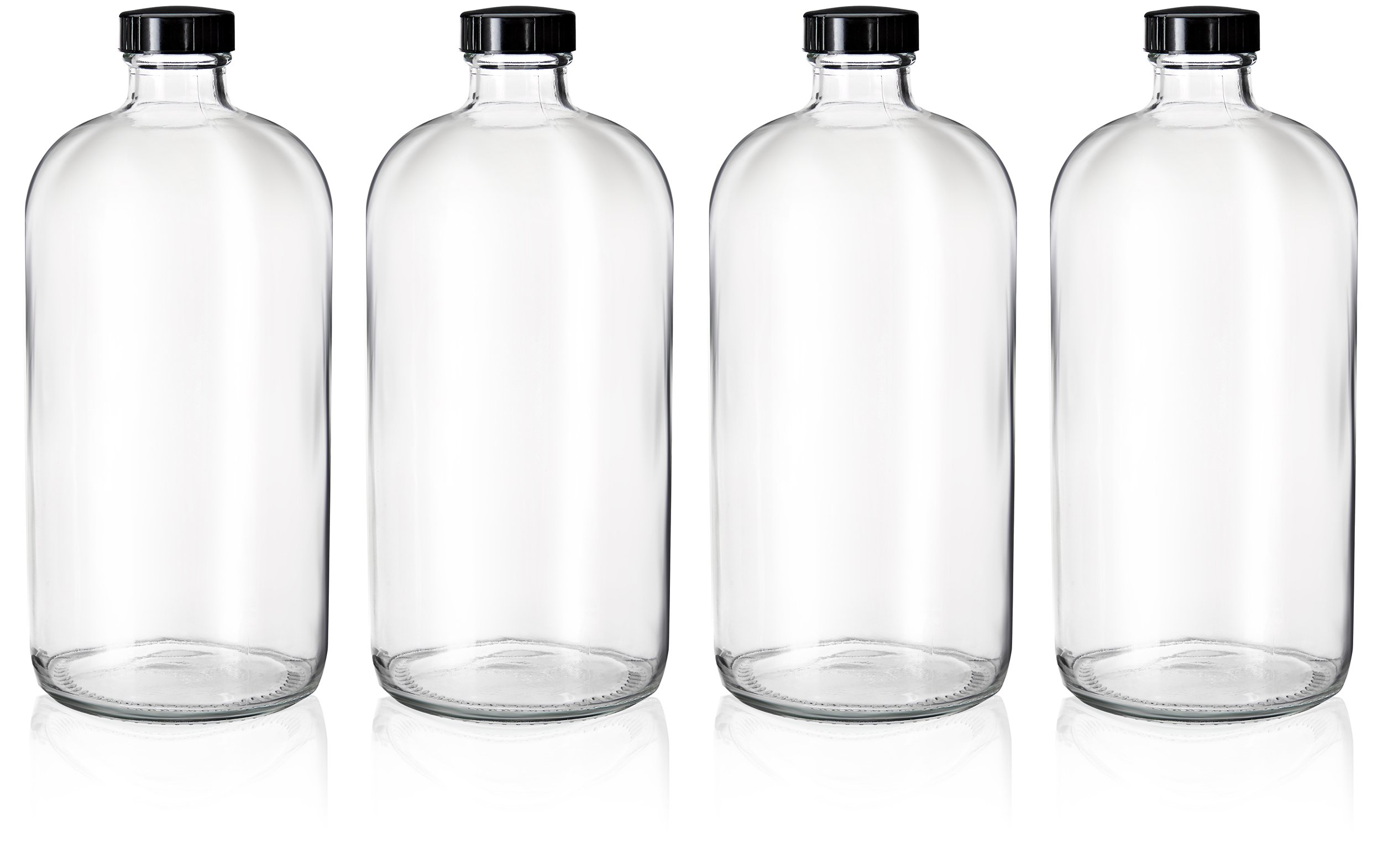 4 Pack - 32oz Boston Round Clear Glass Growler - with Phenolic Poly Cone Insert Caps - Tight Seal for Secondary Kombucha Fermentation