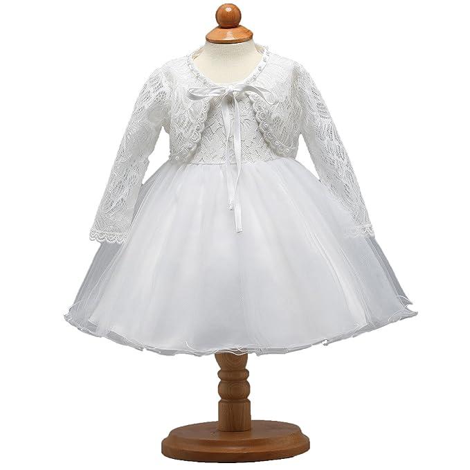 DoMii Newborn Baby Girl Lace Flower Dress Christening Baptism Gown ...