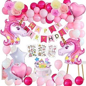 Yansion Unicornio Fiesta Decoración Unicornio cumpleaños Supplies,47 Piezas cumpleaños con 1 Banner,2 Enorme Unicornio Globos,30 Globos,6 Flores de Papel,Girls Boy Kids Fiesta de cumpleaños