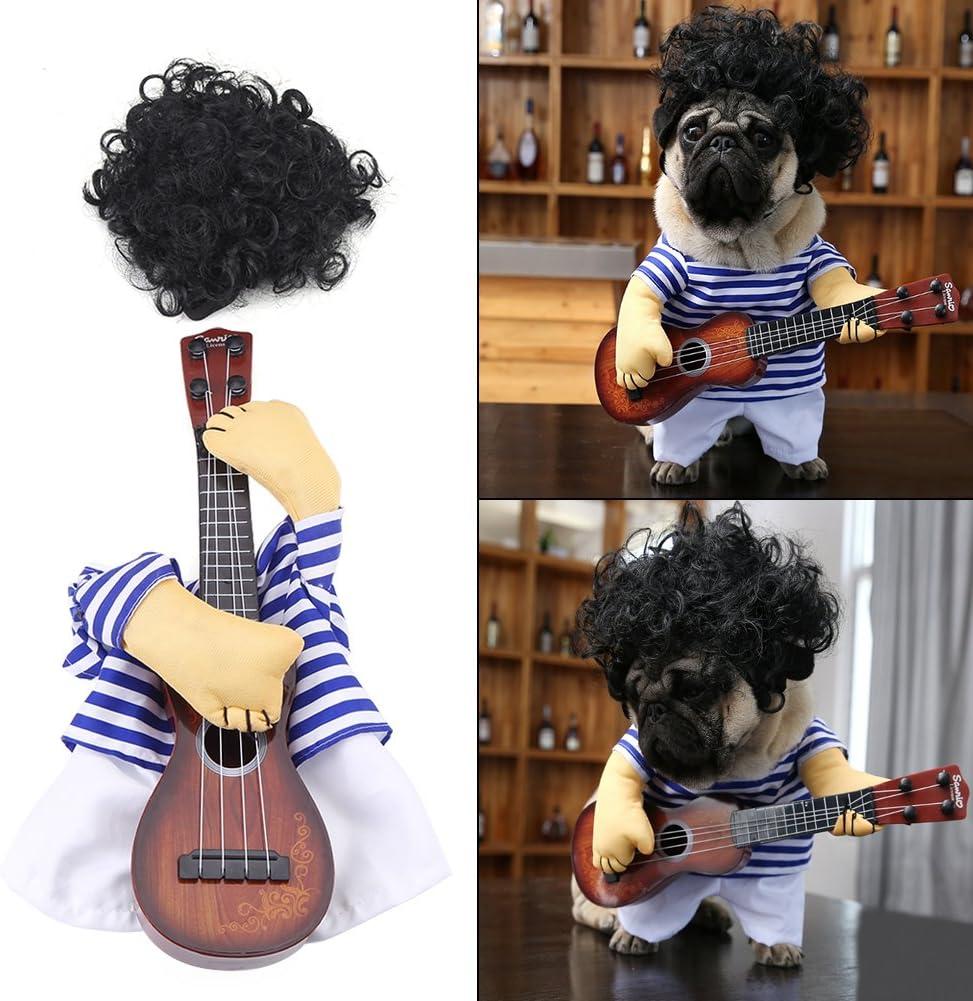 Fdit Disfraz de Mascota Traje de Gato para Perro Mujer Hombre Disfraz de Mascota Divertido Traje de Estilo Guitarrista Algodón (M)