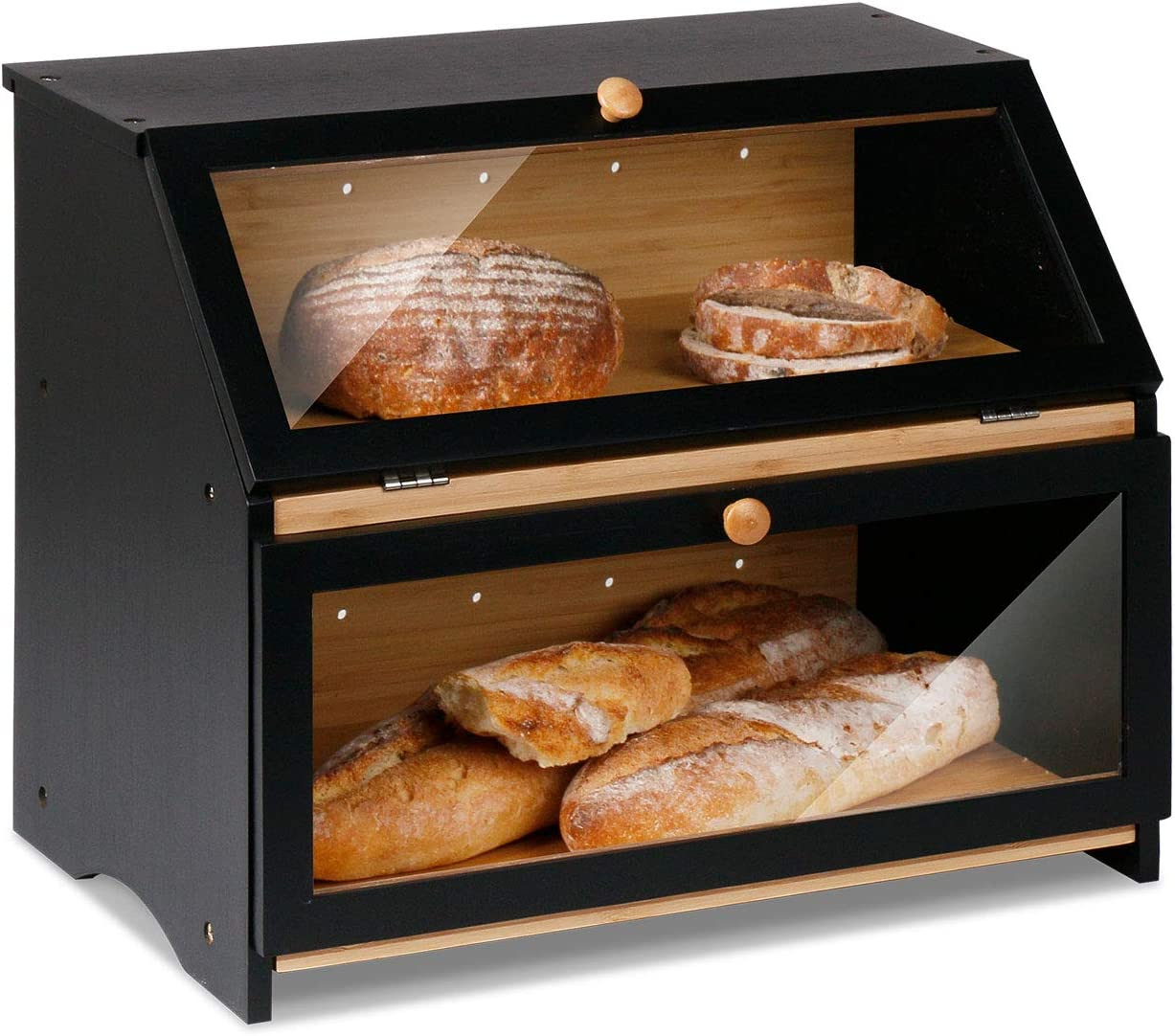 HOMEKOKO Double Layers Large Bread Box for Kitchen Counter, Wooden Large Capacity Bamboo Bread Food Storage Bin - Black (1 Pack)