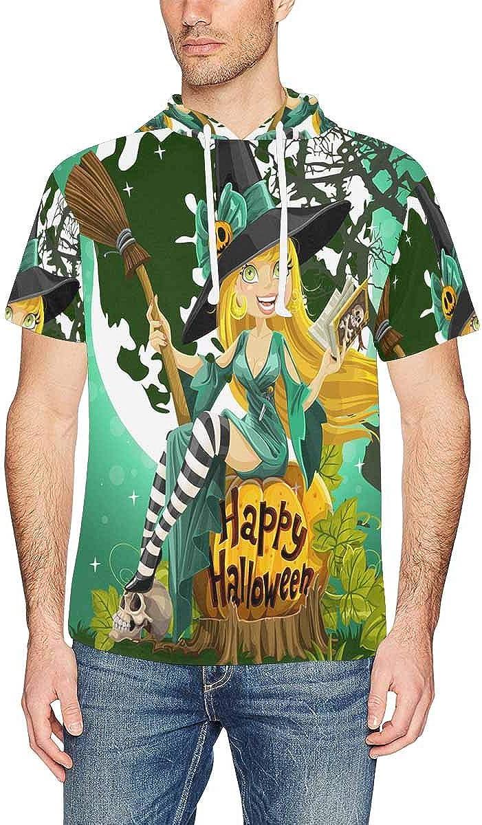 XS-2XL INTERESTPRINT Mens Hoodies Pullover Witch Broom Halloween Lightweight Short Sleeve Shirts