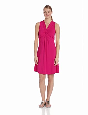 Mod-O-Doc Women's Cotton Modal Spandex Jersey Twisted Front Dress, Peony, X-Small
