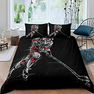 Ice Hockey Comforter Cover Boys Teens Sports Game Theme Bedding Set Puck Hockey Player Winter Event Duvet Cover for Kids Youth Girls Ice Hockey Athlete Silhouette Decor Bedspread with Zipper, Queen