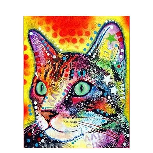 Pintura por Números - Gato de color - Adultos - pinturas para ...