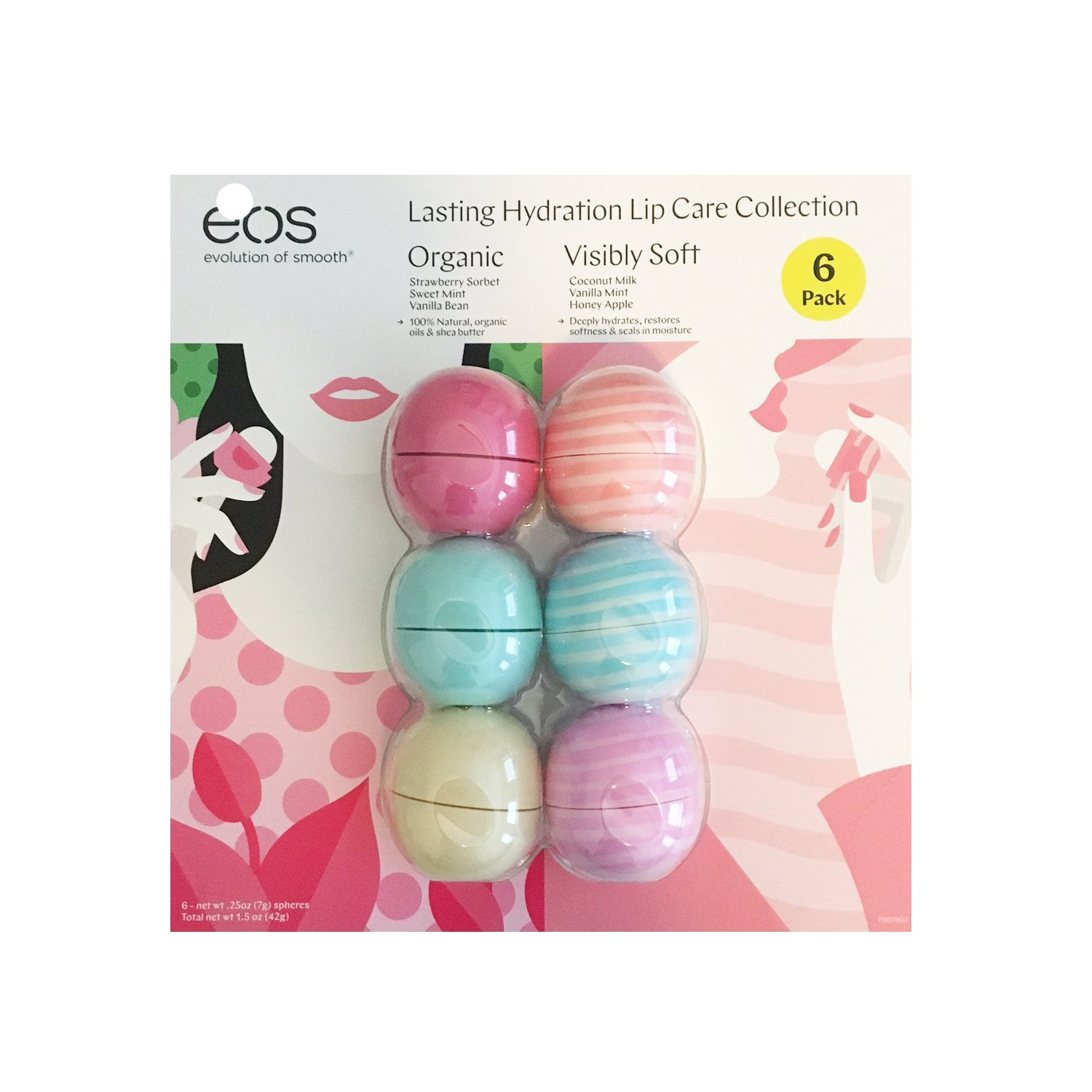 Eos Evolution of Smooth Lip Balm ~ Lasting Hydration Lip Care Collection 6-pack ~ Strawberry Sorbet, Sweet Mint, Vanilla Bean, Coconut Milk, Vanilla Mint, Honey Apple