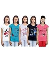 Indistar Women's Cotton T-Shirt COMBO OFFER (Pack Of 5 T-Shirt)