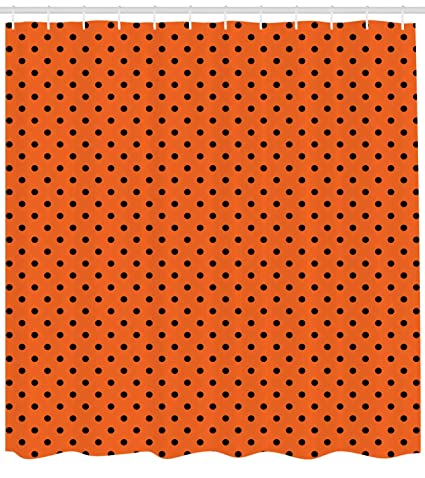 Ambesonne Orange Shower Curtain Vintage Retro Design Little Black Polka Dots With Backdrop Classical