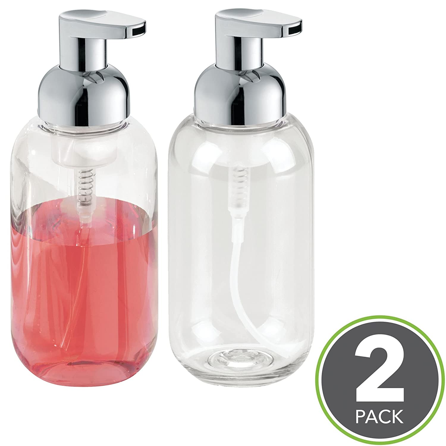 mDesign Foaming Soap Dispenser Pump Bottle for Bathroom Vanities or Kitchen Sink, Countertops - Pack of 2, Clear/Chrome MetroDecor 3840MDK
