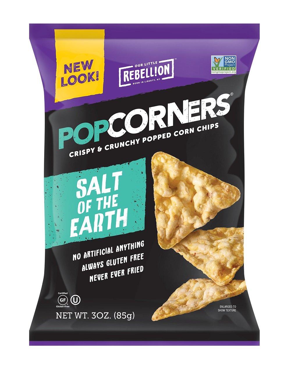 POPCORNERS Salt of The Earth, Popped Corn Snacks, 3oz (Pack of 16)