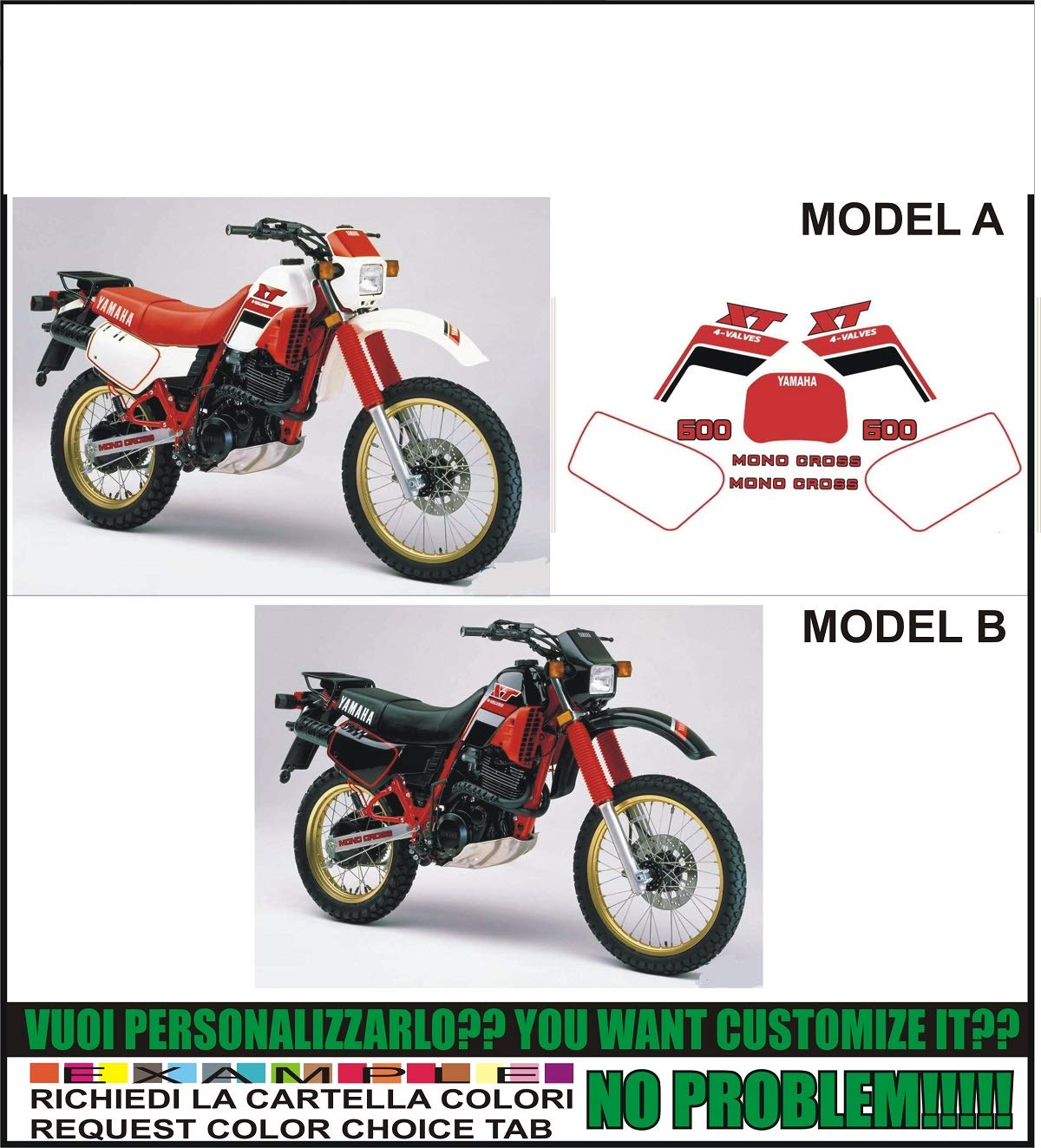 INDICARE IL MODELLO A o B Kit adesivi decal stikers yamaha XT 600 K 1986 43F