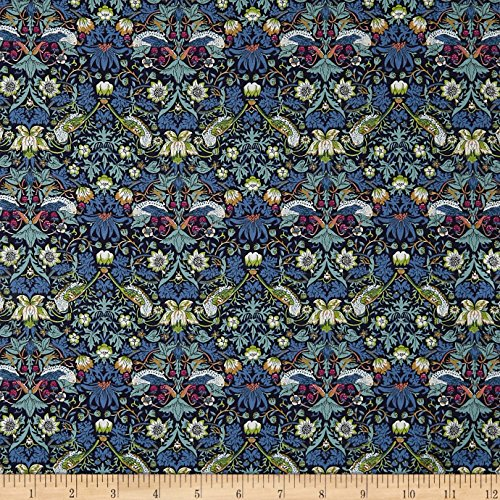 Liberty Fabrics 0548478 Tana Lawn Strawberry Thief Navy Fabric by The ()