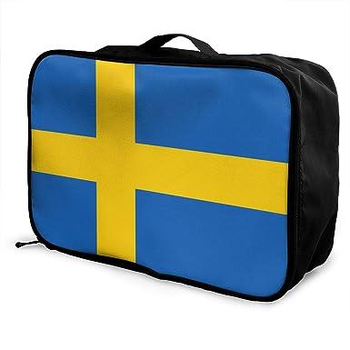 Amazon.com: Bolsa de viaje de bandera sueca para hombres y ...