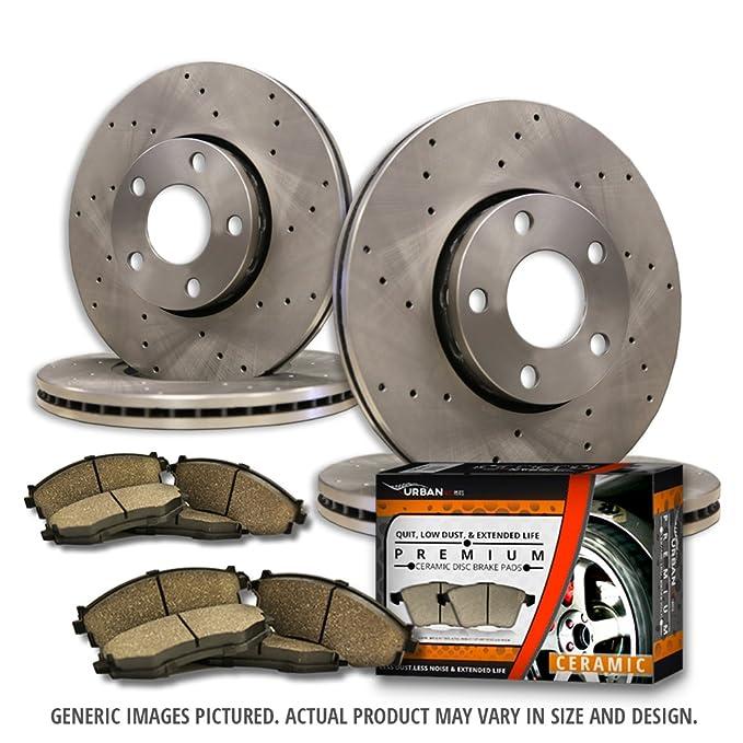 4 Cross Drilled Great-Life Premium Disc Brake Rotors 6lug -Combo Brake Kit 8 Ceramic Pads F+R Full Kit