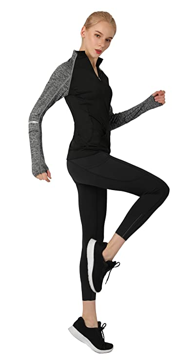 d52e12facab Cityoung Women s Yoga Long Sleeves Half Zip Sweatshirt Girl Athletic  Workout Running Jacket at Amazon Women s Clothing store