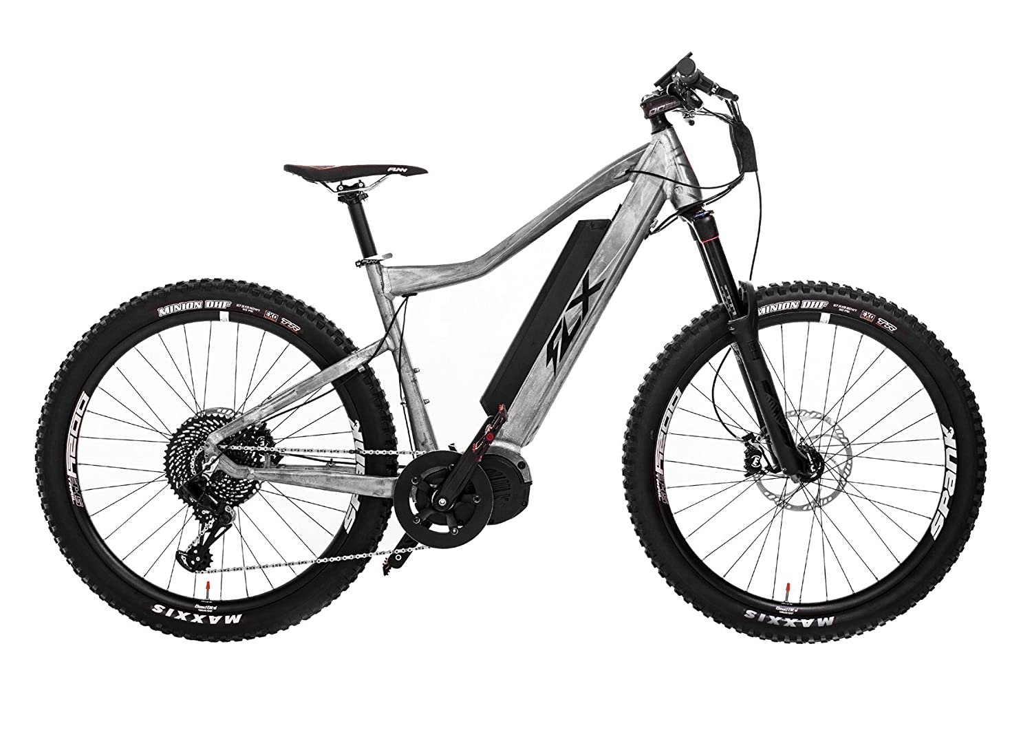 3764ee443bd Amazon.com : FLX Blade Electric Bicycle, Electric Mountainbike with  Suspension, Powerful Motor, Long-Lasting Battery, and Wide Range (Raw  Metal, ...