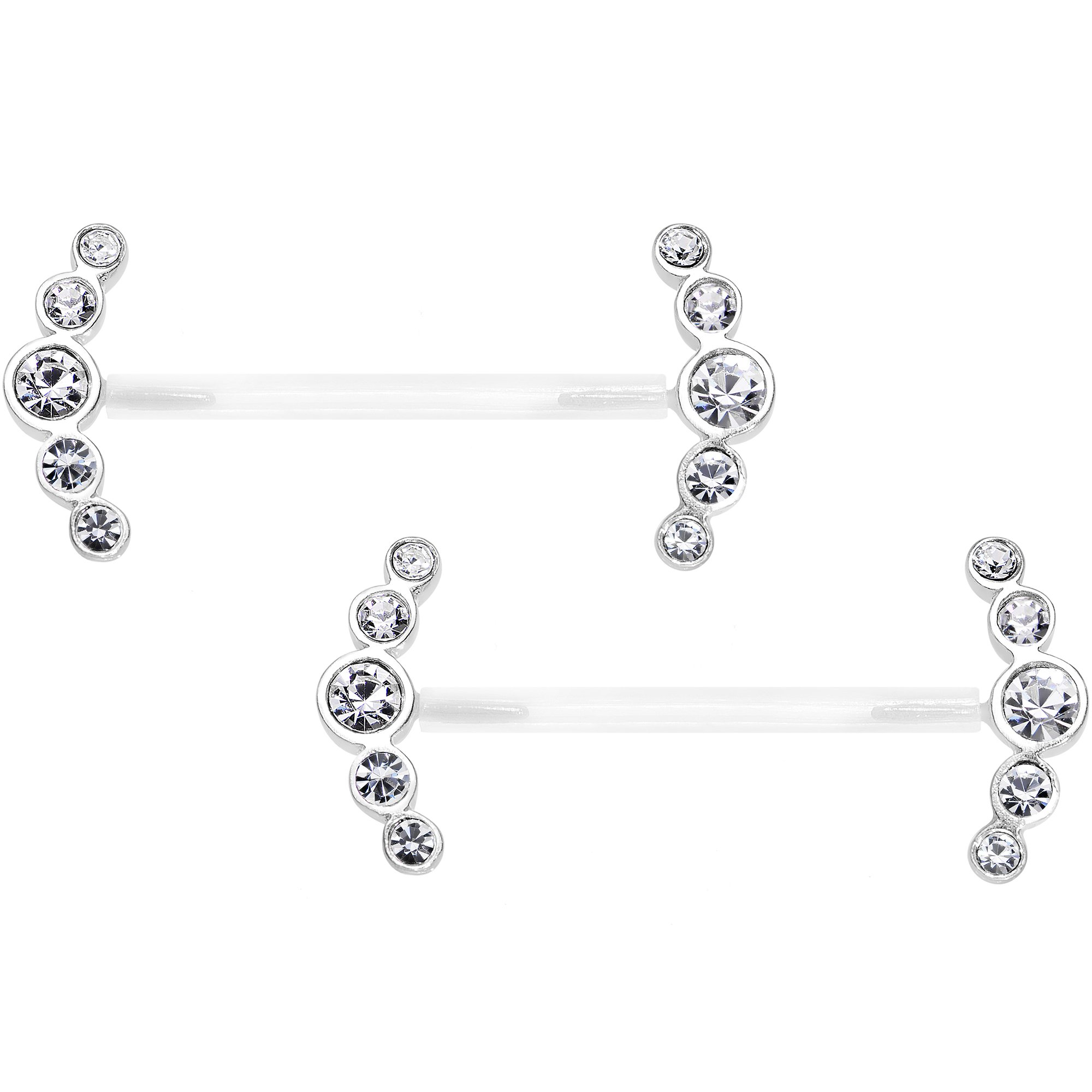 Body Candy Bioplast 925 Sterling Silver Clear Round Curve Nipple Ring Set of 2 14 Gauge 13/16''