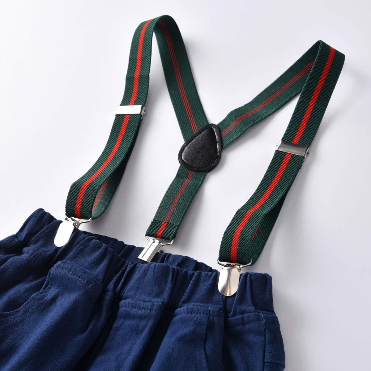 Toddler Baby Boys Gentleman Bowtie Color Block Shirt Suspenders Outfit Suit Set