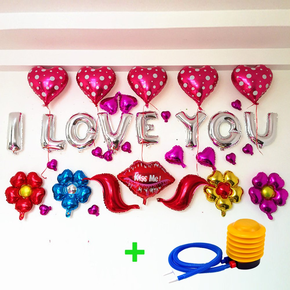 I LOVE YOU Alphabet Letters Foil Balloons Set for Valentine's Day Party Decoration Supplies,Include 32 Balloons with Inflator by MS.CLEO