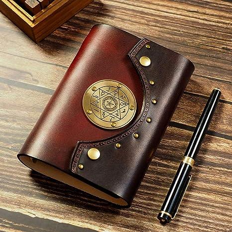 Amazon.com : LIJUCAI Notebook A7 A6 Genuine Leather Notebook ...