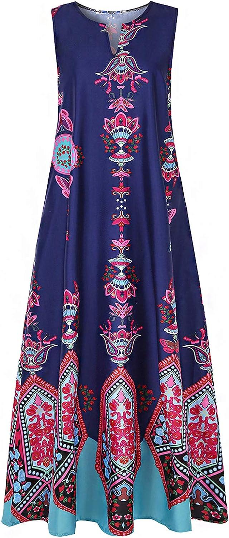 Vimoisa Women Vintage V-Neck African Print Dashiki Dress Pleated Maxi Dress