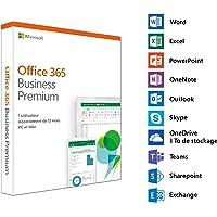 Microsoft Office 365 Business Premium   1 utilisateur   5 PC (Windows 10) ou Mac + 5 tablettes + 5 smartphones  1 an   téléchargement
