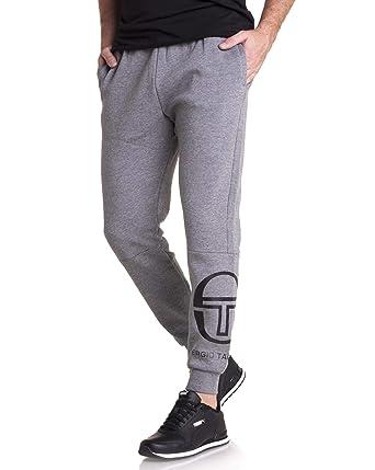 7e66b6825f3bb Sergio Tacchini - Pantalon Sport Jogging Molleton Gris avec Logo sur Le  Mollet: Amazon.fr: Vêtements et accessoires