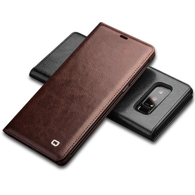 reputable site 5f4f6 70842 Amazon.com: Note 8 Case, QIALINO [Card Holder] Slim Flip Genuine ...