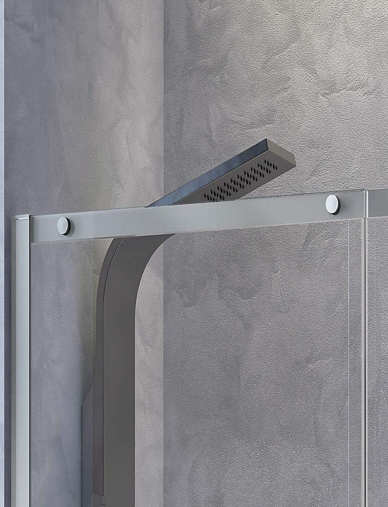 Mampara de Ducha Frontal - 1 Hoja Fija y 1 Puerta Corredera - Cristal de Seguridad de 8 mm - Modelo Luna 2 (156-160 cm): Amazon.es: Bricolaje y herramientas