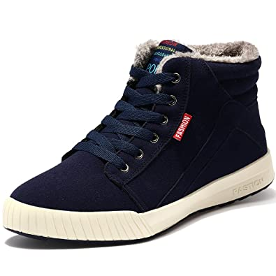 Men's Warm Suede Leather Snow Boot Fur Lined Lace Up Ankle Sneakers High Top Shoes9.5D(M) US Blue