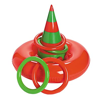 Fun Express - Inflatable Elf Hat Ring Toss for Christmas - Toys - Inflates - Inflatable Games - Christmas - 5 Pieces: Toys & Games
