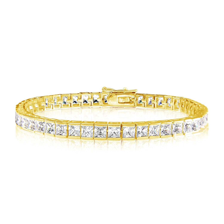 Gold or Silver Plated Square 4x4 Cubic Zirconia Tennis Bracelet Kezef Creations Inc. BTSQ04-06WCZ-BGP