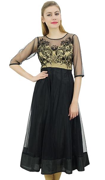 Bimba para Mujer diseñador Anarkali Boda Bordado de Ropa de Fiesta Neto Negro vestido-36