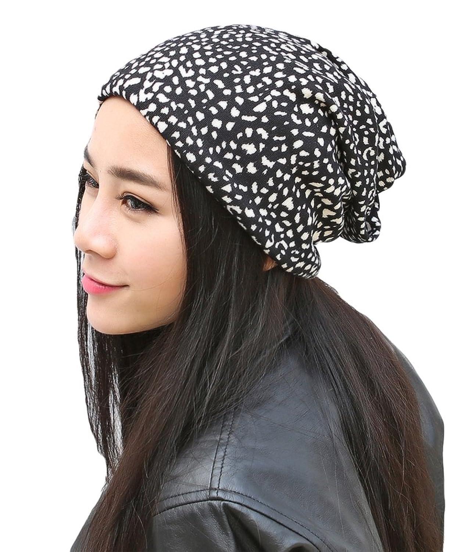 Qiabao Womens Soft Leopard Print Skull Slouch Beanie Hat Cap