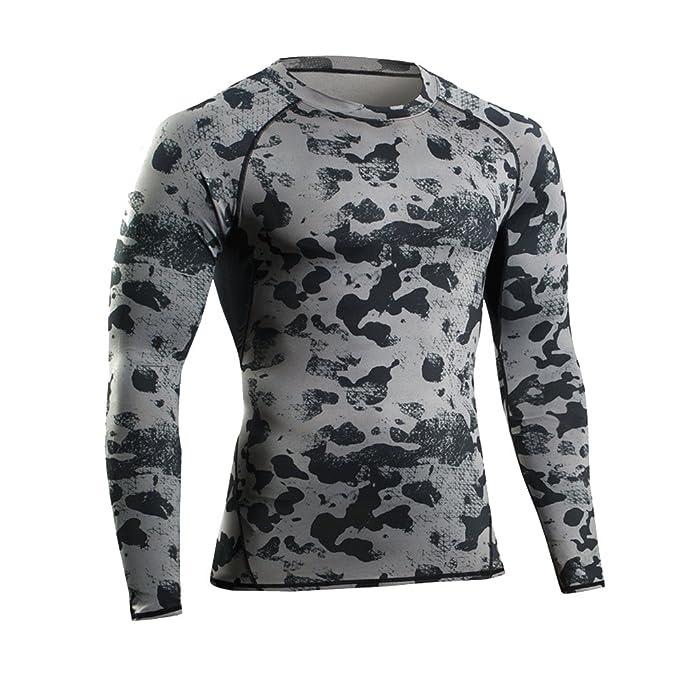 Camiseta de Compresiòn Manga Larga Camisetas Running con Estampado de Camuflaje para Hombre Negro L: Amazon.es: Ropa y accesorios