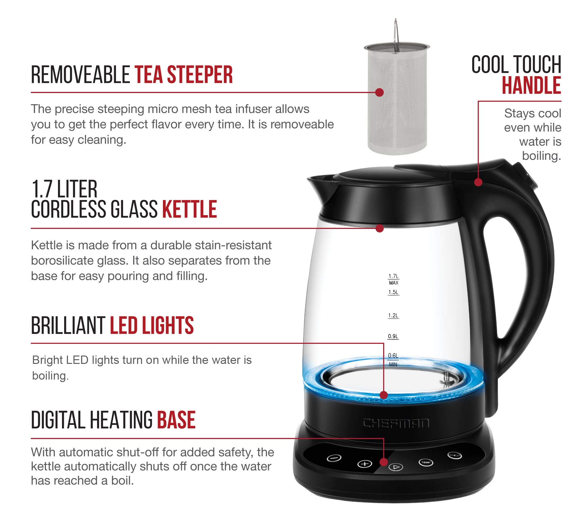 Chefman Programmable Electric Kettle Digital Display Removable Tea Infuser Included, Cool Touch Handle, 360° Swivel Base, BPA Free, 1.7 Liter/1.8 Quart by Chefman (Image #2)