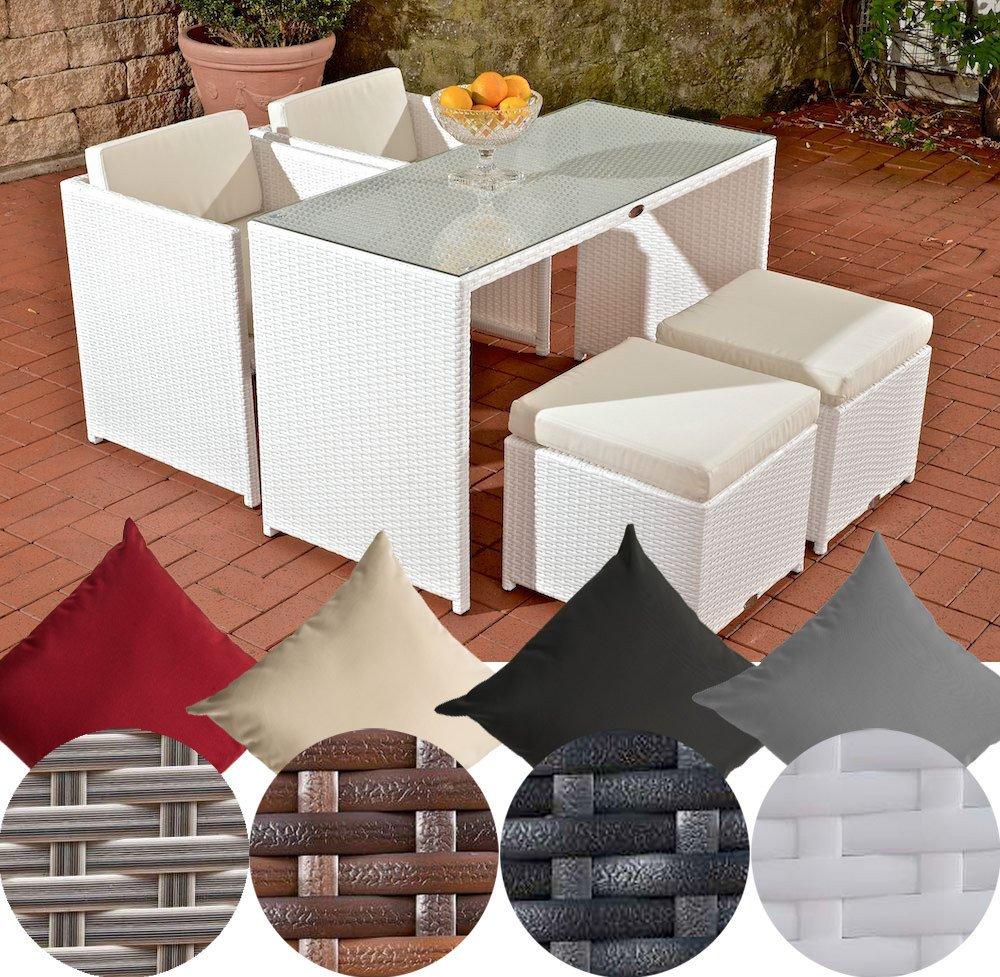 CLP Poly-Rattan Balkon Sitzgruppe TAHITI (2 Stühle + 2 Hocker + ...