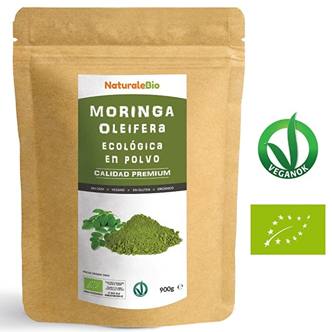 Moringa Oleifera Ecologica en Polvo [Calidad Premium] de 900g | Moringa Powder Organica, 100% Bio, Natural y Pura | Hojas Recogidas de la Planta de Moringa ...