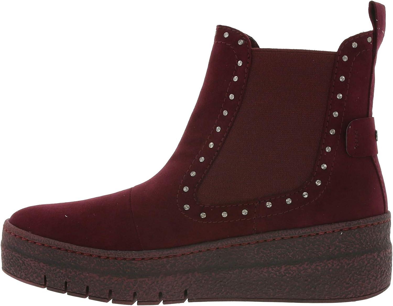 Tamaris Chelsea Boots Cool Bottines en Daim d\'aspect Daim pour Femmes, Rouge foncé Rouge