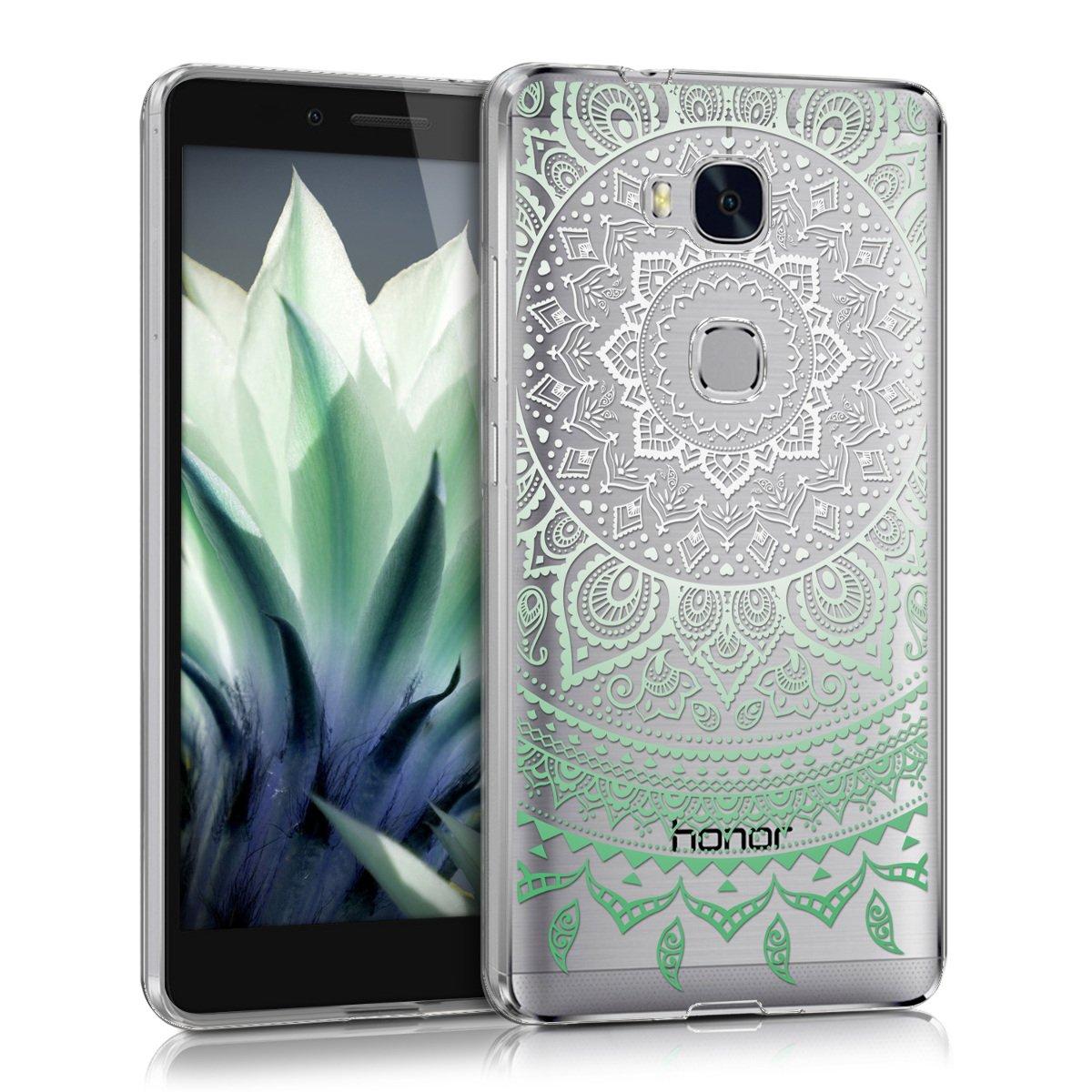 kwmobile Funda para Huawei Honor 5X / GR5 - Carcasa de [TPU] para móvil y diseño de Sol hindú en [Menta Blanco Transparente]