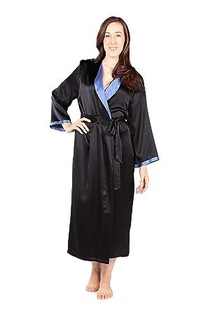 2539e85b3231 TexereSilk Women's Luxury Long Silk Bathrobe - Sleepwear Robe (Beautibliss,  Black, Small/